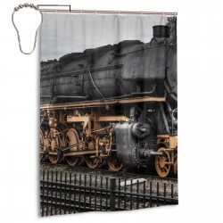 Vintage Old Train Shower Curtain , Shower Bathroom Curtain 55x72 Inch Waterproof Fabric with Hooks , Wildly used in bathroom and hotel etc.