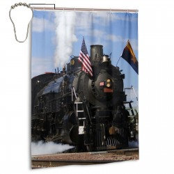 Vehicle Old Steam Train With USA Flag Shower Curtain , Shower Bathroom Curtain 55x72 Inch Waterproof Fabric with Hooks , Wildly used in bathroom and hotel etc.