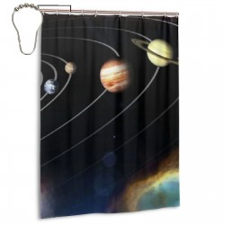 Solar System Galaxy World Shower Curtain , Shower Bathroom Curtain 55x72 Inch Waterproof Fabric with Hooks , Wildly used in bathroom and hotel etc.