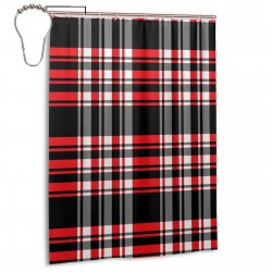 Plaid Red Black Stripes Shower Curtain , Shower Bathroom Curtain 55x72 Inch Waterproof Fabric with Hooks , Wildly used in bathroom and hotel etc.