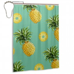 Pineapple And Slice Design Gold Shower Curtain , Shower Bathroom Curtain 55x72 Inch Waterproof Fabric with Hooks , Wildly used in bathroom and hotel etc.