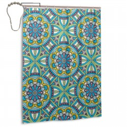 Kaleidoscope Pattern Shower Curtain , Shower Bathroom Curtain 55x72 Inch Waterproof Fabric with Hooks , Wildly used in bathroom and hotel etc.