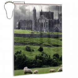 Irish Houses And Castles Shower Curtain , Shower Bathroom Curtain 55x72 Inch Waterproof Fabric with Hooks , Wildly used in bathroom and hotel etc.
