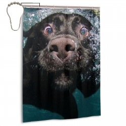 Funny Black Labrador Retriever Dog Swimming With Expressive Face Shower Curtain , Shower Bathroom Curtain 55x72 Inch Waterproof Fabric with Hooks , Wildly used in bathroom and hotel etc.