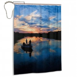 Fishing Scenic Shower Curtain , Shower Bathroom Curtain 55x72 Inch Waterproof Fabric with Hooks , Wildly used in bathroom and hotel etc.