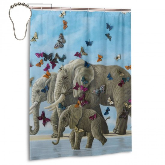 Elephants And Butterflies Shower Curtain , Shower Bathroom Curtain 55x72 Inch Waterproof Fabric with Hooks , Wildly used in bathroom and hotel etc.