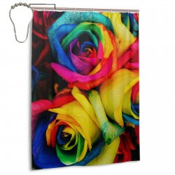 Colorful Rainbow Rose Flowers Shower Curtain , Shower Bathroom Curtain 55x72 Inch Waterproof Fabric with Hooks , Wildly used in bathroom and hotel etc.
