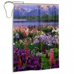 Beautiful Flowers Mountain Sky Water Scene Shower Curtain , Shower Bathroom Curtain 55x72 Inch Waterproof Fabric with Hooks , Wildly used in bathroom and hotel etc.