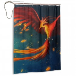 Abstract Red Phoenix Shower Curtain , Shower Bathroom Curtain 55x72 Inch Waterproof Fabric with Hooks , Wildly used in bathroom and hotel etc.