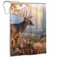 Autumn Nature Deers Scene Shower Curtain , Shower Bathroom Curtain 55x72 Inch Waterproof Fabric with Hooks , Wildly used in bathroom and hotel etc.