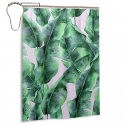 Tropic Plant Banana Palm Leaves Shower Curtain , Shower Bathroom Curtain 55x72 Inch Waterproof Fabric with Hooks , Wildly used in bathroom and hotel etc.