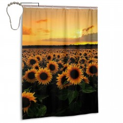 Sunflower Field Shower Curtain , Shower Bathroom Curtain 55x72 Inch Waterproof Fabric with Hooks , Wildly used in bathroom and hotel etc.