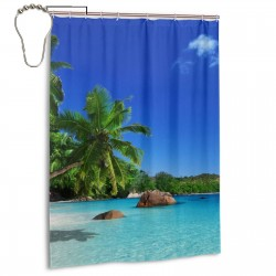 Paradise Beach Sea Palm Trees Shower Curtain , Shower Bathroom Curtain 55x72 Inch Waterproof Fabric with Hooks , Wildly used in bathroom and hotel etc.