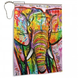 Oil Painting Elephant Shower Curtain , Shower Bathroom Curtain 55x72 Inch Waterproof Fabric with Hooks , Wildly used in bathroom and hotel etc.