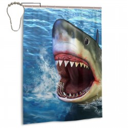 Great White Shark Shower Curtain , Shower Bathroom Curtain 55x72 Inch Waterproof Fabric with Hooks , Wildly used in bathroom and hotel etc.