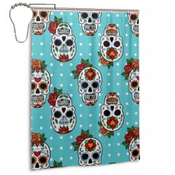 FLOWER Sugar Skull Shower Curtain , Shower Bathroom Curtain 55x72 Inch Waterproof Fabric with Hooks , Wildly used in bathroom and hotel etc.