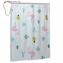 Flamingo Pineapple Shower Curtain , Shower Bathroom Curtain 55x72 Inch Waterproof Fabric with Hooks , Wildly used in bathroom and hotel etc.