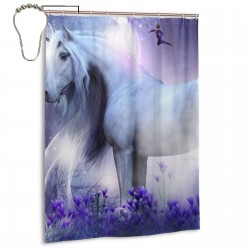 Fantasy Unicorn Faries Shower Curtain , Shower Bathroom Curtain 55x72 Inch Waterproof Fabric with Hooks , Wildly used in bathroom and hotel etc.