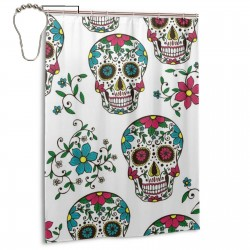 Colorful Sugar Skull Shower Curtain , Shower Bathroom Curtain 55x72 Inch Waterproof Fabric with Hooks , Wildly used in bathroom and hotel etc.