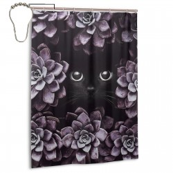 Cat Hiding In Flowers Shower Curtain , Shower Bathroom Curtain 55x72 Inch Waterproof Fabric with Hooks , Wildly used in bathroom and hotel etc.