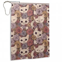 Cat Flowers Shower Curtain , Shower Bathroom Curtain 55x72 Inch Waterproof Fabric with Hooks , Wildly used in bathroom and hotel etc.