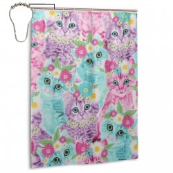 Cat Flower Shower Curtain , Shower Bathroom Curtain 55x72 Inch Waterproof Fabric with Hooks , Wildly used in bathroom and hotel etc.