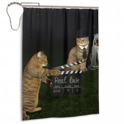 Cat Film Shooting Site Shower Curtain , Shower Bathroom Curtain 55x72 Inch Waterproof Fabric with Hooks , Wildly used in bathroom and hotel etc.