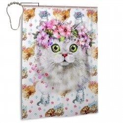 Cat Fantasy Shower Curtain , Shower Bathroom Curtain 55x72 Inch Waterproof Fabric with Hooks , Wildly used in bathroom and hotel etc.