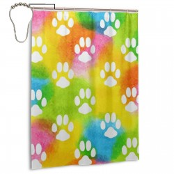 Cat Dog Watercolor Paws Footprints Shower Curtain , Shower Bathroom Curtain 55x72 Inch Waterproof Fabric with Hooks , Wildly used in bathroom and hotel etc.