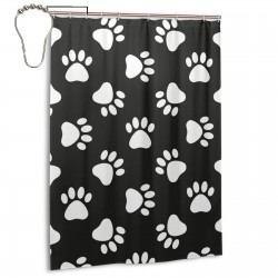 Cat Dog Paw Print Shower Curtain , Shower Bathroom Curtain 55x72 Inch Waterproof Fabric with Hooks , Wildly used in bathroom and hotel etc.