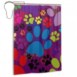 Cat Dog Colorful Paws Footprints Pattern Shower Curtain , Shower Bathroom Curtain 55x72 Inch Waterproof Fabric with Hooks , Wildly used in bathroom and hotel etc.