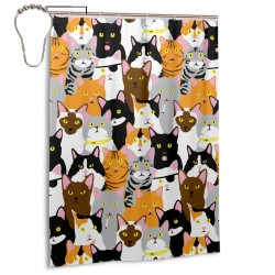 Cat Collage Shower Curtain , Shower Bathroom Curtain 55x72 Inch Waterproof Fabric with Hooks , Wildly used in bathroom and hotel etc.