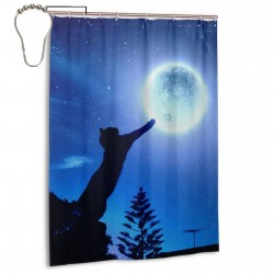 Cat Catching Moon Shower Curtain , Shower Bathroom Curtain 55x72 Inch Waterproof Fabric with Hooks , Wildly used in bathroom and hotel etc.