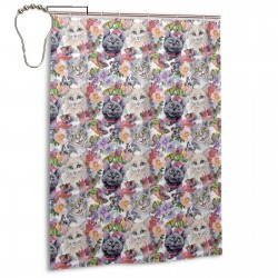 Cat Animal Pattern Shower Curtain , Shower Bathroom Curtain 55x72 Inch Waterproof Fabric with Hooks , Wildly used in bathroom and hotel etc.