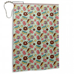 Cat And Donut Shower Curtain , Shower Bathroom Curtain 55x72 Inch Waterproof Fabric with Hooks , Wildly used in bathroom and hotel etc.
