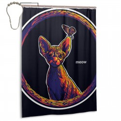 Cat And Butterfly. Shower Curtain , Shower Bathroom Curtain 55x72 Inch Waterproof Fabric with Hooks , Wildly used in bathroom and hotel etc.