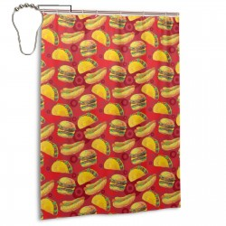 Cartoon Style Hamburger Shower Curtain , Shower Bathroom Curtain 55x72 Inch Waterproof Fabric with Hooks , Wildly used in bathroom and hotel etc.
