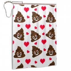 Cartoon Smiling Poop Heart Valentine 副本 Shower Curtain , Shower Bathroom Curtain 55x72 Inch Waterproof Fabric with Hooks , Wildly used in bathroom and hotel etc.