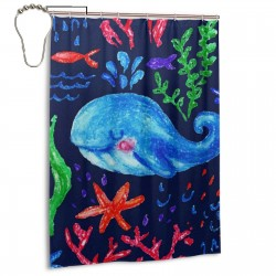 Cartoon Ocean Whale Coral Reef Shower Curtain , Shower Bathroom Curtain 55x72 Inch Waterproof Fabric with Hooks , Wildly used in bathroom and hotel etc.