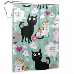 Cartoon Hipster Cat Kitten Love Heart Shower Curtain , Shower Bathroom Curtain 55x72 Inch Waterproof Fabric with Hooks , Wildly used in bathroom and hotel etc.