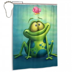 Cartoon Green Frog Shower Curtain , Shower Bathroom Curtain 55x72 Inch Waterproof Fabric with Hooks , Wildly used in bathroom and hotel etc.