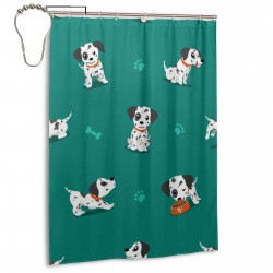 Cartoon Character Dalmatian Dog Shower Curtain , Shower Bathroom Curtain 55x72 Inch Waterproof Fabric with Hooks , Wildly used in bathroom and hotel etc.