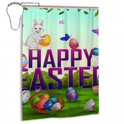 Cartoon Bunny Butterfly Easter Eggs Shower Shower Curtain , Shower Bathroom Curtain 55x72 Inch Waterproof Fabric with Hooks , Wildly used in bathroom and hotel etc.