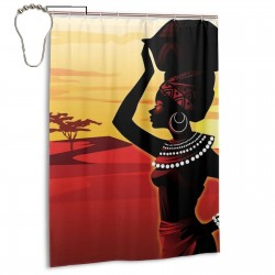 Cartoon African Woman Shower Curtain , Shower Bathroom Curtain 55x72 Inch Waterproof Fabric with Hooks , Wildly used in bathroom and hotel etc.