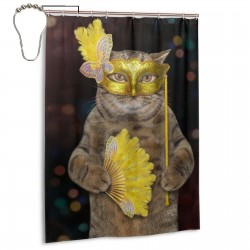 Carnival Cat Shower Curtain , Shower Bathroom Curtain 55x72 Inch Waterproof Fabric with Hooks , Wildly used in bathroom and hotel etc.