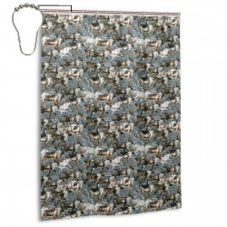 Caribou Watercolor Reindeer Shower Curtain , Shower Bathroom Curtain 55x72 Inch Waterproof Fabric with Hooks , Wildly used in bathroom and hotel etc.