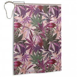 Cannabis Sativa Shower Curtain , Shower Bathroom Curtain 55x72 Inch Waterproof Fabric with Hooks , Wildly used in bathroom and hotel etc.