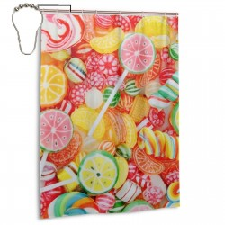 Candy Shower Curtain , Shower Bathroom Curtain 55x72 Inch Waterproof Fabric with Hooks , Wildly used in bathroom and hotel etc.