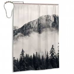 Canadian Smokey Mountain Shower Curtain , Shower Bathroom Curtain 55x72 Inch Waterproof Fabric with Hooks , Wildly used in bathroom and hotel etc.