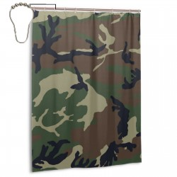 Camouflage Woodland Texture Shower Curtain , Shower Bathroom Curtain 55x72 Inch Waterproof Fabric with Hooks , Wildly used in bathroom and hotel etc.